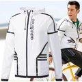 Adidas/阿迪達斯 男士拉鏈開衫防曬運動服外套上衣 連帽長袖健身跑步運動服