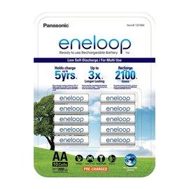 (公司貨)2017 日本製Panasonic eneloop 3號AA充2100次低自放電電池, 10顆裝 送2只電池盒