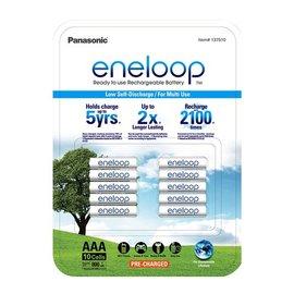 (公司貨)2017 日本製Panasonic eneloop 4號AAA充2100次低自放電電池, 10顆裝 送2只電池盒