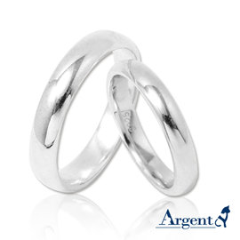 【ARGENT安爵銀飾精品】情人對戒系列「素雅-無刻字版(3mm+4mm)」純銀戒指(一對價)可加購刻字