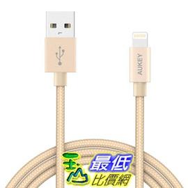 [106美國直購] AUKEY Lightning 充電線 Cable,  3.95ft Nylon Braided [Apple MFi Certified] for iPhone 7