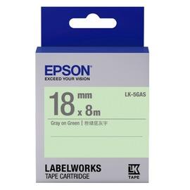EPSON 18mm 標籤帶(淡彩) 綠底灰字 5GAS LC-5GAS