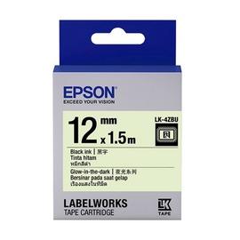 EPSON 12mm 標籤帶(夜光) 銀光底黑字 4ZBU LC-4ZBU