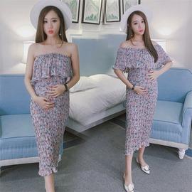 93436C-皺褶超彈 韓版一字領顯瘦藏肚洋裝 孕婦裝☆韓版孕婦裝娃娃裝☆