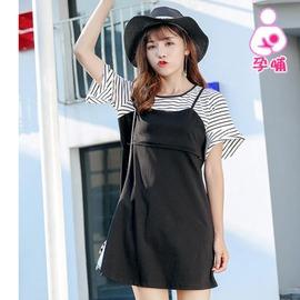 93437F-假兩件 韓版顯瘦哺乳洋裝 孕婦裝(韓版孕婦裝哺乳衣)