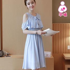 93442K-仙女風格 韓版淺藍挖肩哺乳洋裝 孕婦裝(韓版孕婦裝哺乳衣)