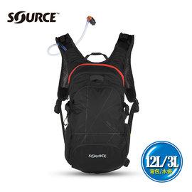 Source 戶外健行水袋背包 Fuse 2051922202  背包12L 水袋3L 黑 紅  城市綠洲 路跑水袋.符合人體工程 .以色列