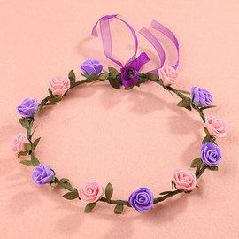 森女花環頭飾仿真花朵發箍韓式婚紗攝影配飾 會開幕式表演道具─ CH1701