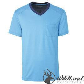 【Wildland 荒野】男 V領咖啡紗抗 菌抗UV上衣 抗紫外線/彈性纖維/吸濕排汗 0A31620-77中藍