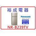 【裕成電器‧來電爆低價】國際牌變頻無邊框冰箱 NR-B239TV 另售 NR-C479HV 奇美 RG599