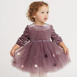 Dave Bella 小童/ 大童 花朵長袖紗裙洋裝 (正式/ 婚宴/ 喜宴/ 宴會/ 花童可著) - 紫羅蘭 DB6035
