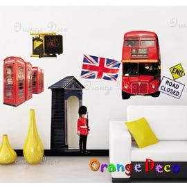 壁貼【橘果設計】倫敦巴士 DIY組合壁貼 牆貼 壁紙 室內設計 裝潢 壁貼 裝飾佈置 8220