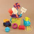 美國B.Toys 光腳ㄚ沙灘包-海軍藍(光腳丫沙灘包)11件組附透明提袋*清涼一夏.戲水玩沙.海邊必備沙具