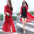 【韓國KW】KMM1342-6 簡約純色透氣防曬雪紡罩衫-紅