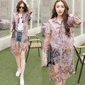 【韓國KW】KMM1351-1 氣質印花襯衫領防曬雪紡罩衫-紫紅(翻折領)