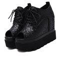 【ALicE】(預購) Y1637-9  復古造型綁帶厚底鞋-黑