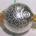 琥珀貓~925純銀材料~造型珠~N7886款~8mm菊紋魚~一組16個