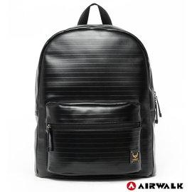 Backbager 背包族【美國 AIRWALK】黑金系列-黑金款皮感風格後背包(黑)