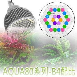 VITALUX RMW吊掛列:LED AQUA80水族燈具(B4光譜)|大功率60燈, 80W|台灣製造【多光譜 栽培燈 掛燈 吊燈 三波長...