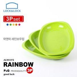 ~樂扣樂扣~P Q PP彩虹疊疊樂橢圓餐盤3入組 綠  C24