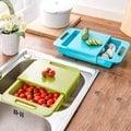 [拉拉百貨]二合一切菜板瀝水籃 創意多功能水槽洗菜切菜砧板 可滑動廚房瀝水架 抽屜式 防滑防溢水瀝乾切菜兩用