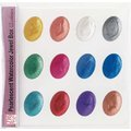 日本吳竹珍珠水彩盒、顏色調色盤WSKG204-5(金屬色)(12色)