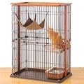 日本 BONBI 木製2層式貓籠/貓籠附貓吊床組
