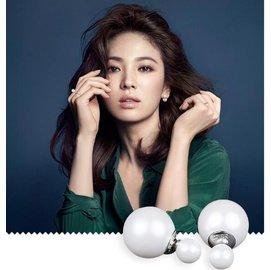 925銀 飾品 雙珍珠大小耳釘 明星同款雙面天然貝珠耳飾