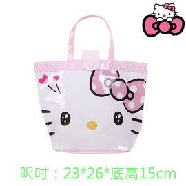 出口 Hello Kitty粉底FACE款防水手提袋 沙灘袋 防水  官網同步~