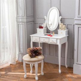 《AccessCo》新古典法式公主風水晶化妝桌椅組 純潔白