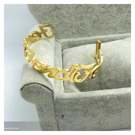 夏多寶 字母金色芬迪名字字母開口女玫瑰金手鐲手鏈情人節
