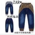 【品質超好】外貿原單 歐美大牌zara男女童AB面拼接針織牛仔褲