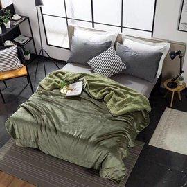 綠色法蘭絨羊羔絨毯被150x200cm素色羊羔絨被子單色有8色保暖毛毯車上寢具溫暖湖藍色紅色咖啡色