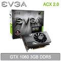 EVGA 艾維克 GTX 1060 3G ACX2.0 3GB DDR5 顯示卡 3G-P4-6160-KR