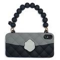【Candies】經典雙色珠鍊晚宴包(黑)-IPhone XS Max