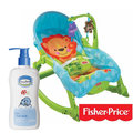 (9017386)費雪牌 Fisher-Price 可愛動物可攜式兩用安撫躺椅+貝恩Baan 嬰兒沐浴精/200ml