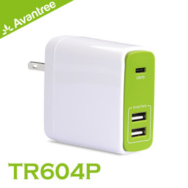 walkbox代理【Avantree TR604P Type-C PD快充/雙USB 3孔充電插頭-支援PD快充/適用iPhone/Android手機/NewMacbook】