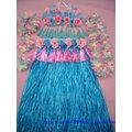 成人男女 夏威夷草裙表演套裝 草裙舞服裝 80cm2層加厚藍色裙子