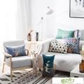 北歐現代簡約長方形布藝棉麻沙發抱枕靠墊套辦公室腰枕腰靠枕含芯I1