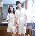 夏季男女短袖浴袍薄款情侶睡衣I1