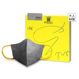 商店街-健康優購網  :dc克微粒 奈米薄膜 立體口罩-成人(灰罩黃耳帶)M