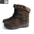 ESKT 女短筒雪鞋SN239 咖啡色