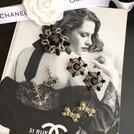 免運Chanel  18新品海軍風珍珠水鑽耳環 蝴蝶結耳環 胸針 咨詢