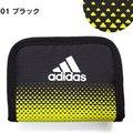 正日貨 日本帶回✈ 愛迪達運動型皮夾 雙折短夾零錢包附鏈帶*黃黑色