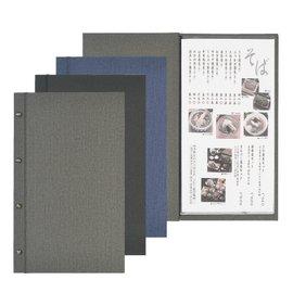【SHIMBI】棉麻紋菜單本-螺絲款(A4縱長-4P) TUC-102-TW