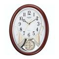 RHYTHM CLOCK 日本麗聲木質外殼古典優雅搖擺橢圓形音樂掛鐘 型號:4MJ407WD06【神梭鐘錶】