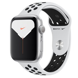 Apple Watch Nike Series 5 (GPS);44 公釐銀色鋁金屬錶殼;Pure Platinum 配黑色 Nike 運動型錶帶 _ 台灣公司貨 +贈 (保貼+保套)