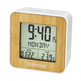 RHYTHM CLOCK 麗聲仿木紋面方型液晶日期星期貪睡雙鬧鈴溫度冷光鬧鐘 型號:LCT085NR03【神梭鐘錶】