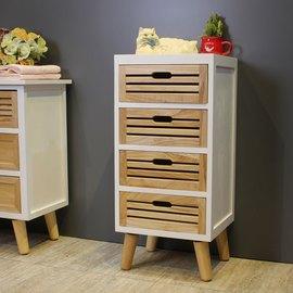 【玫瑰物語】Asllie妮可四抽屜收納櫃邊櫃床頭櫃置物櫃實美學實木腳柱天然梧白色桐木實木輕巧防潮
