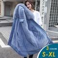 【CHACO】韓系保暖大毛領連帽內毛絨羽絨棉鋪棉派克中長版外套#6923